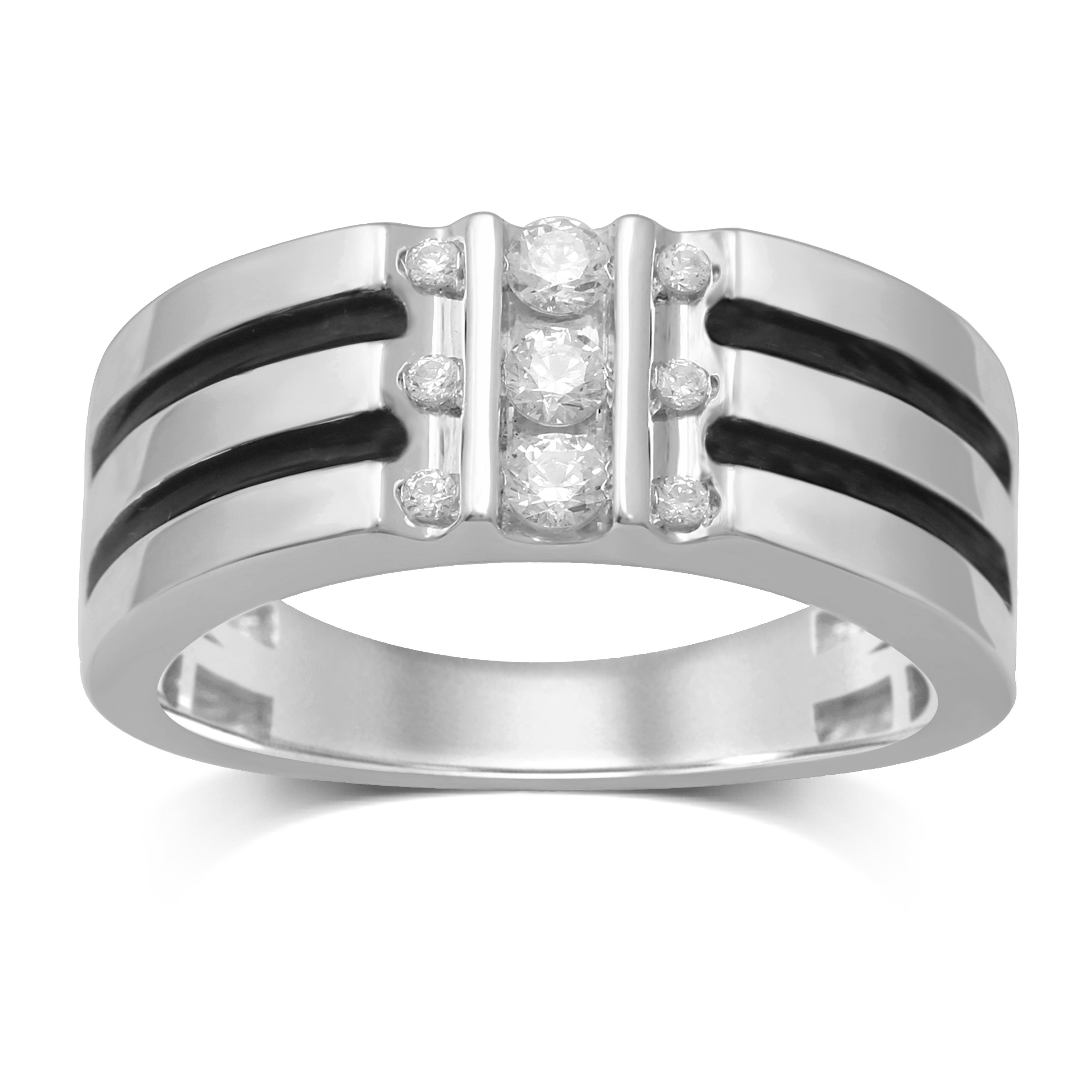 Details About Unending Love 10K White Gold Diamond Vertical Set Band Intended For 2017 Vertical Diamond Row Wedding Bands (View 8 of 25)