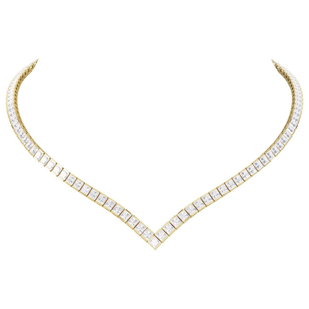 Diamond 18ct Yellow Gold Princess Tennis Necklace Pertaining To Most Up To Date Diamond Necklaces In Yellow Gold (View 7 of 25)
