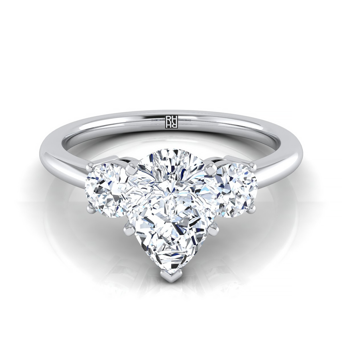 Diamond 3 Stone Engagement Ring With Pear Shape Center And Round Side Stones In 18k White Gold (1/4 Ct.tw (View 11 of 25)