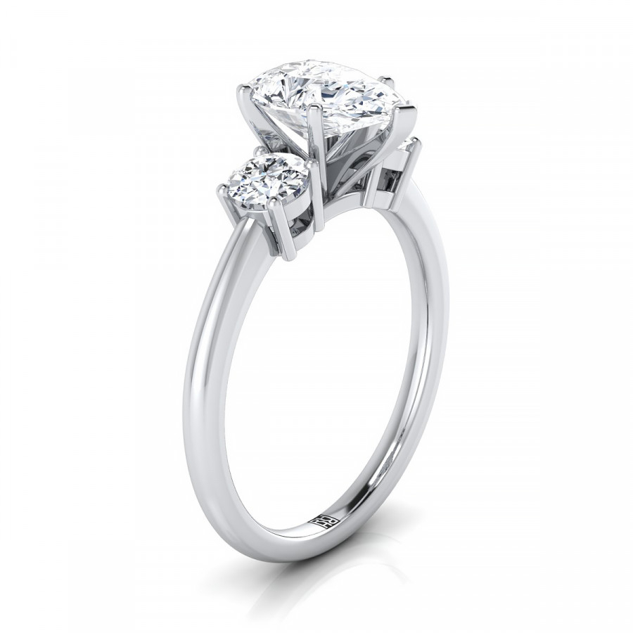Diamond 3 Stone Engagement Ring With Pear Shape Center And Round Side  Stones In Platinum (1/4 Ct.tw (View 9 of 25)