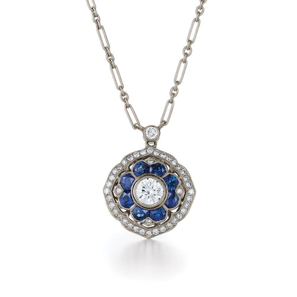 Diamond And Sapphire Pendant In 18K White Gold (View 10 of 25)