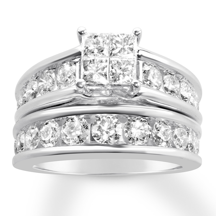 Diamond Bridal Set 3 Ct Tw Princess/round 14K White Gold Intended For Recent Princess Cut Single Diamond Wedding Bands In Yellow Gold (Gallery 14 of 25)