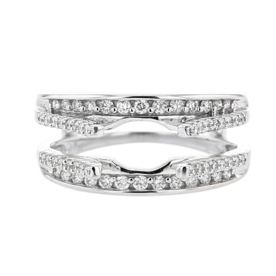 Diamond Cradle Wedding Band, Enhancer Ring, Pave, 14k Gold,  (View 20 of 25)