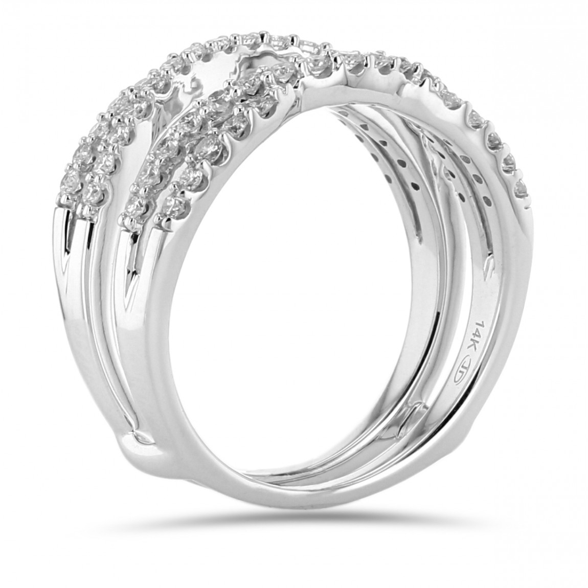 Diamond Cradle Wedding Band, Ring Enhancer, Pavé Waves, 14k White Gold, (View 5 of 25)