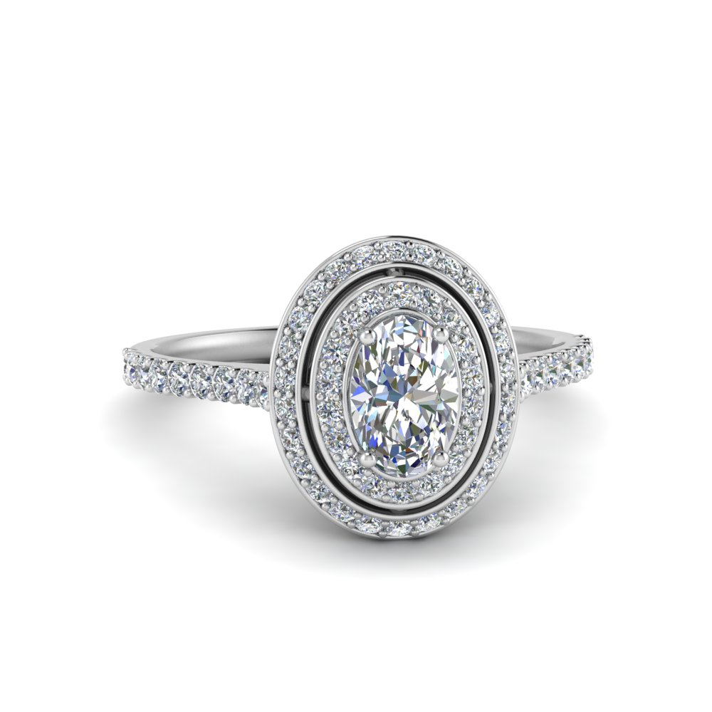 Diamond Double Halo Micropave Oval Ring For Oval Shaped Diamond Micropavé Engagement Rings (View 10 of 25)