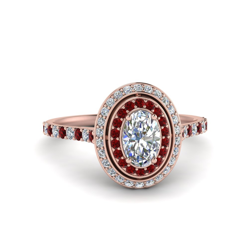 Diamond Double Halo Micropave Oval Ring Within Oval Shaped Ruby Micropavé Rings (View 8 of 25)