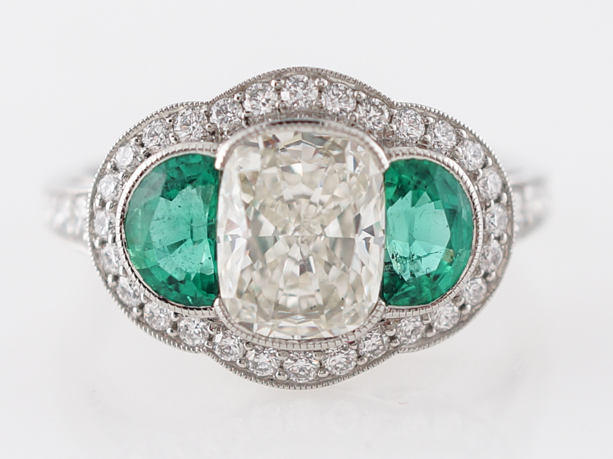 Diamond & Emerald Three Stone Engagement Ring With Regard To Emerald And Diamond Three Stone Rings (View 12 of 25)