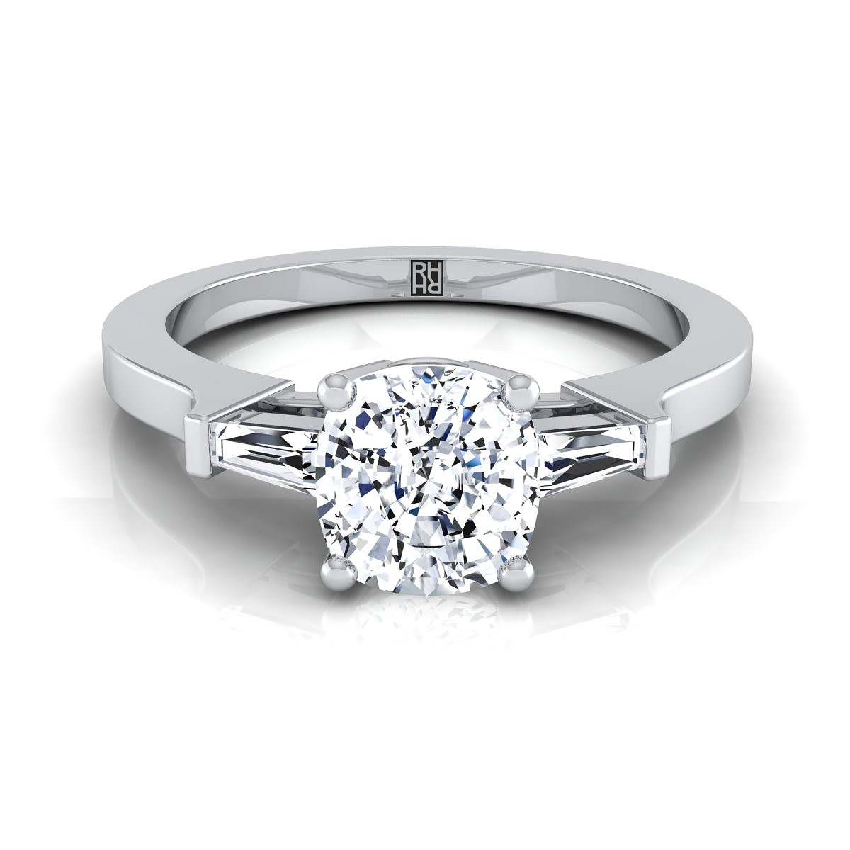 Diamond Engagement Ring With Cushion Cut Center And Tapered Baguette Side  Stones In 18K White Gold (1/4 Ct.tw (View 12 of 25)