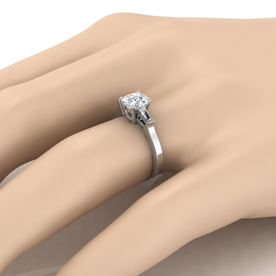 Diamond Engagement Ring With Cushion Cut Center And Tapered Baguette Side  Stones In Platinum (1/4 Ct.tw (View 13 of 25)