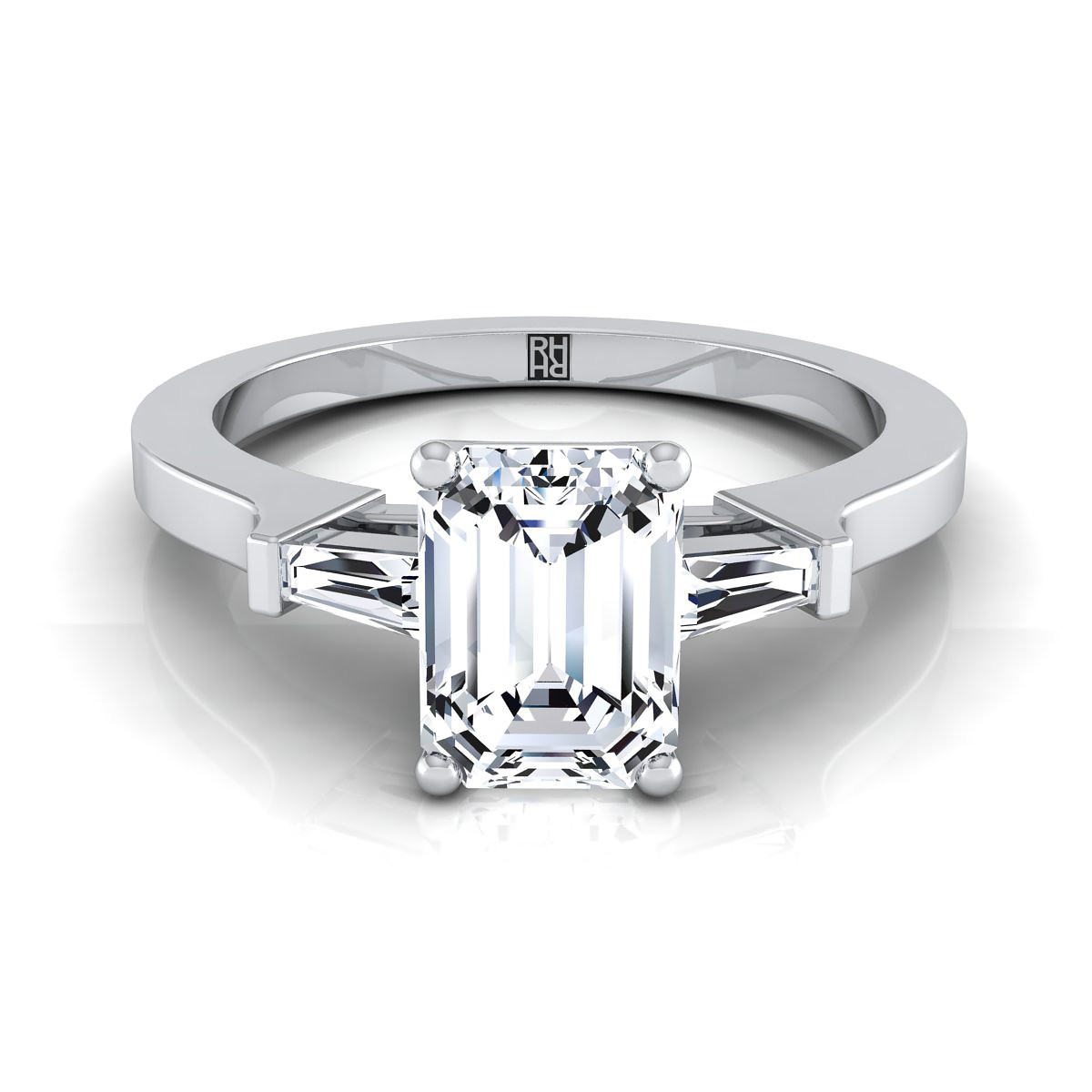 Diamond Engagement Ring With Emerald Cut Center And Tapered Baguette Side  Stones In Platinum (1/4 Ct.tw.) With Regard To Emerald Cut Engagement Rings With Tapered Baguette Side Stones (Gallery 1 of 25)