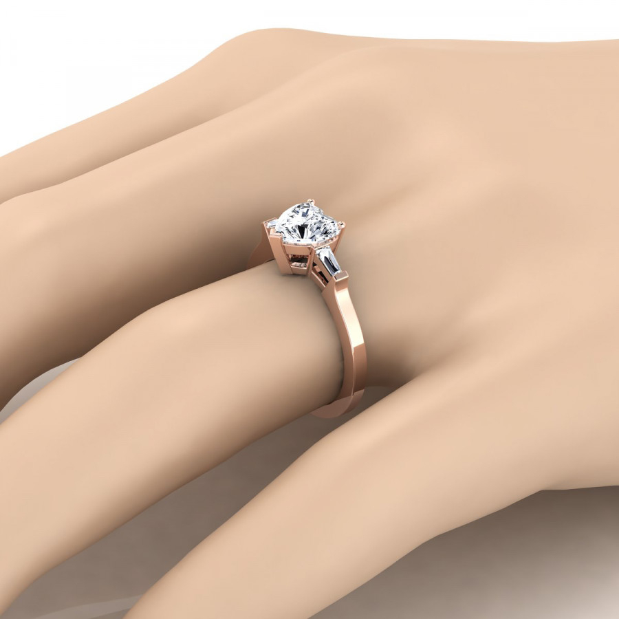 Diamond Engagement Ring With Heart Shape Center And Tapered Baguette Side Stones In 14k Rose Gold (1/4 Ct.tw (View 12 of 25)