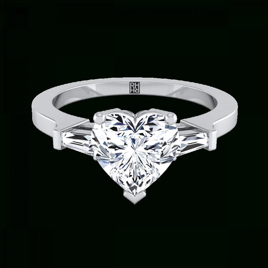 Diamond Engagement Ring With Heart Shape Center And Tapered Baguette Side Stones In Platinum (1/4 Ct.tw (View 4 of 25)