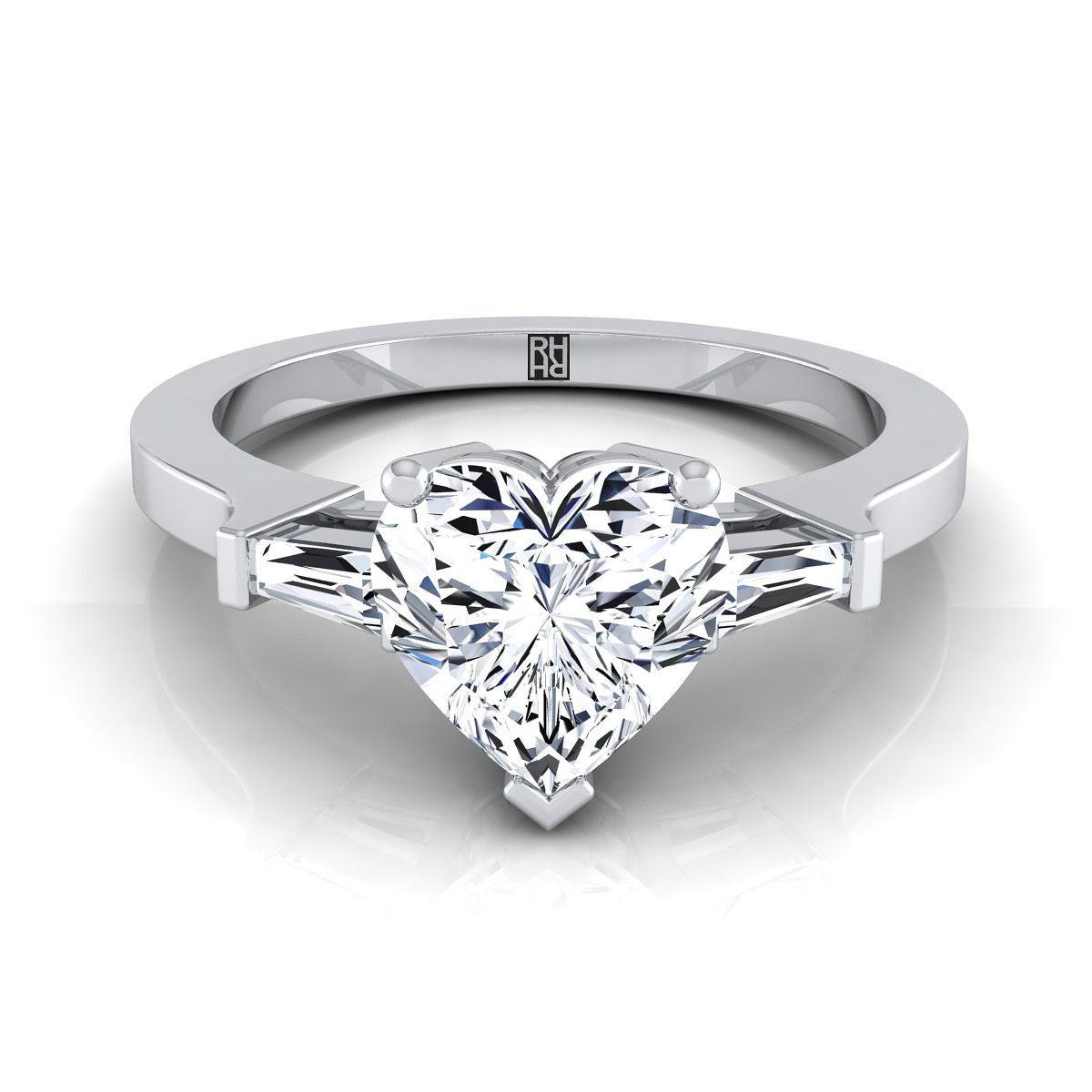 Diamond Engagement Ring With Heart Shape Center And Tapered Baguette Side  Stones In Platinum (1/4 Ct.tw.) Within Heart Shaped Engagement Rings With Tapered Baguette Side Stones (Gallery 1 of 25)