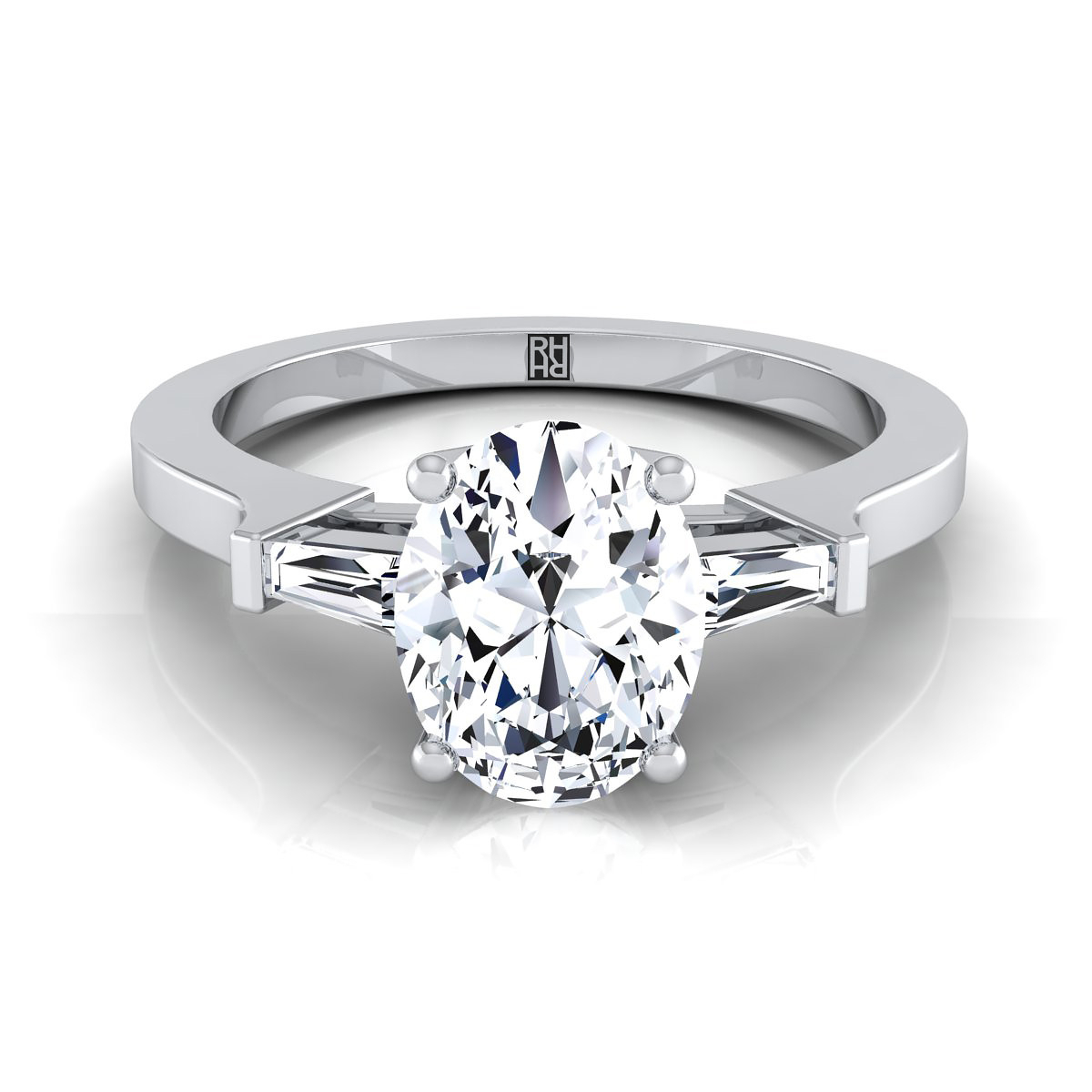 Diamond Engagement Ring With Oval Cut Center And Tapered Baguette Side Stones In 14k White Gold (1/4 Ct.tw (View 3 of 25)