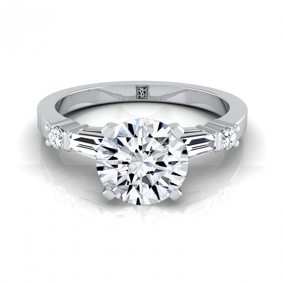 Diamond Engagement Ring With Tapered Baguette Sides And Round Prong Set Shoulders In Platinum (1/4 Ct.tw (View 2 of 25)