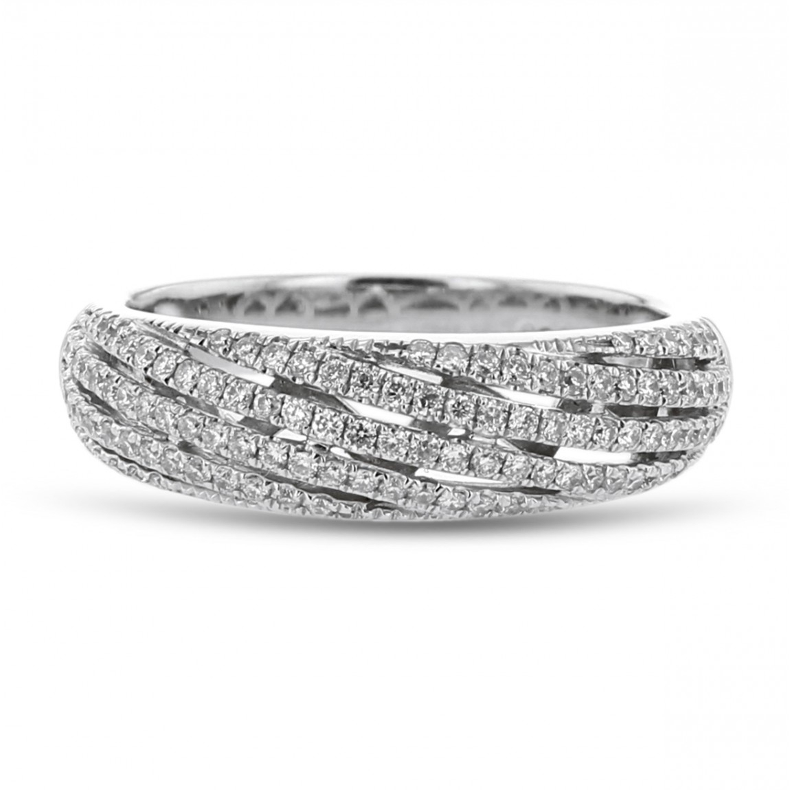 Diamond Fashion Band, Pavé Waves, 18k White Gold, (View 10 of 25)