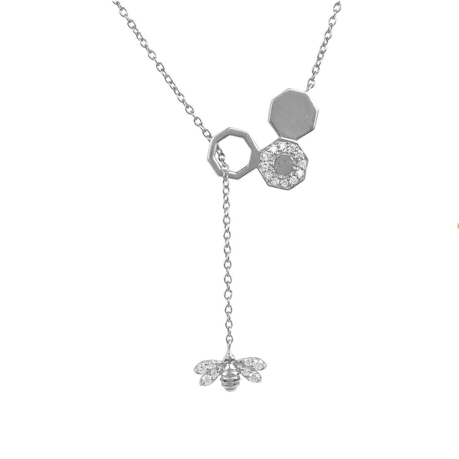 Diamond Honey Comb Bee Lariat 925 Silver Necklace Round Brilliant Pendant Inside Most Popular Round Brilliant Diamond Lariat Necklaces (Gallery 21 of 25)