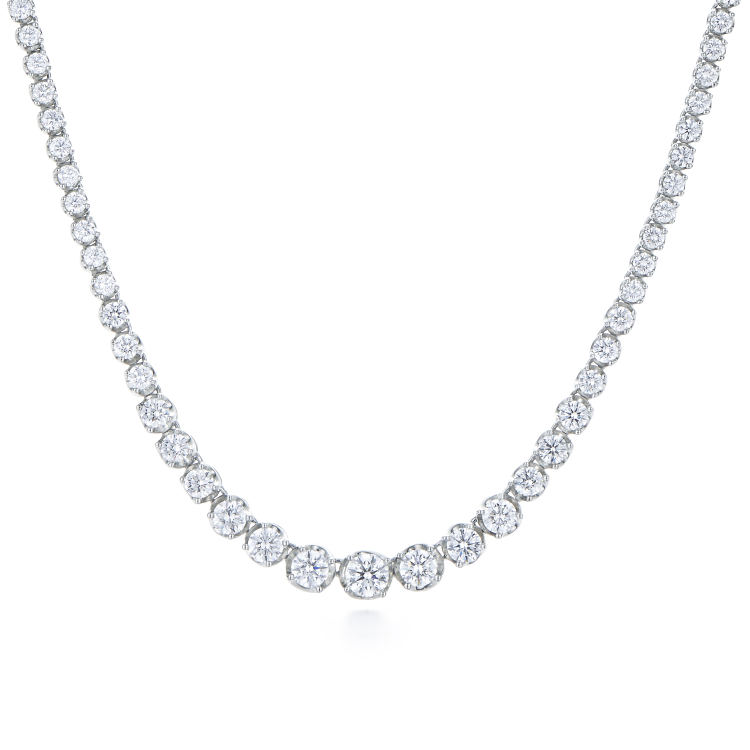 Diamond Line Necklace In 18K White Gold (View 12 of 25)