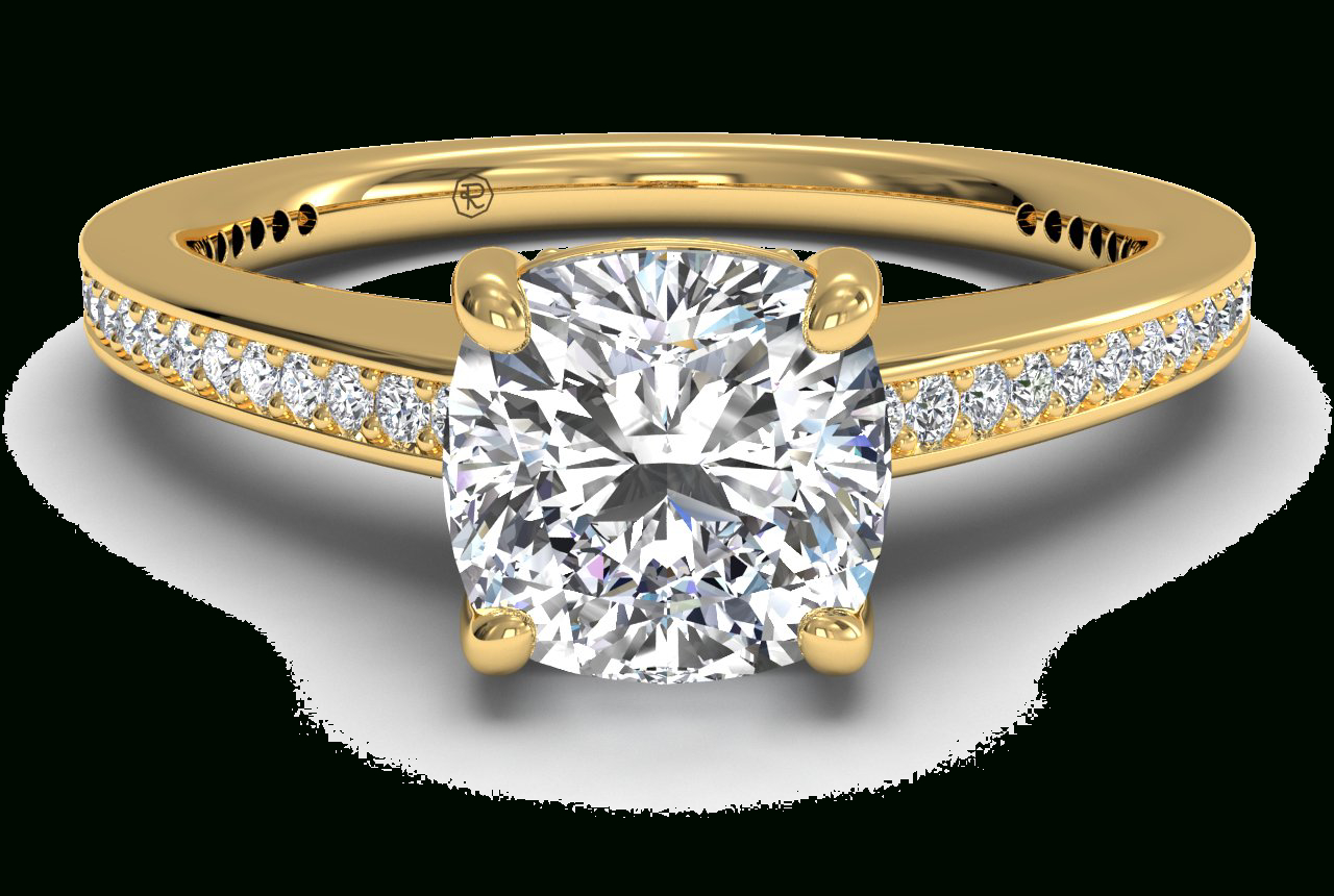 Diamond Micropavé Band Engagement Ring – In 18Kt Yellow Gold (0.20 Ctw) Throughout Cushion Cut Yellow Diamond Micropavé Rings (Gallery 22 of 25)
