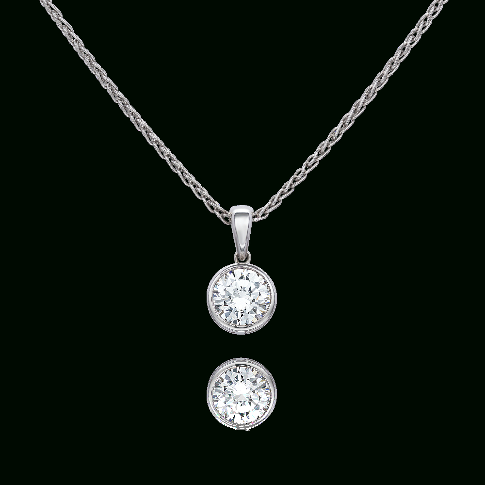 Diamond Single Stone Pendant Pertaining To 2019 Diamond Necklaces In Platinum (View 15 of 25)
