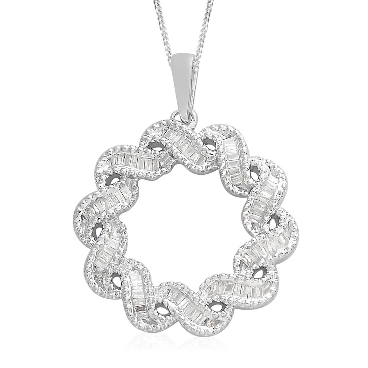 Diamond Twisted Wreath Pendant Necklace (18 In) In Platinum Over Sterling  Silver 0.33 Ctw Pertaining To Newest Diamond Wreath Necklaces (Gallery 21 of 25)