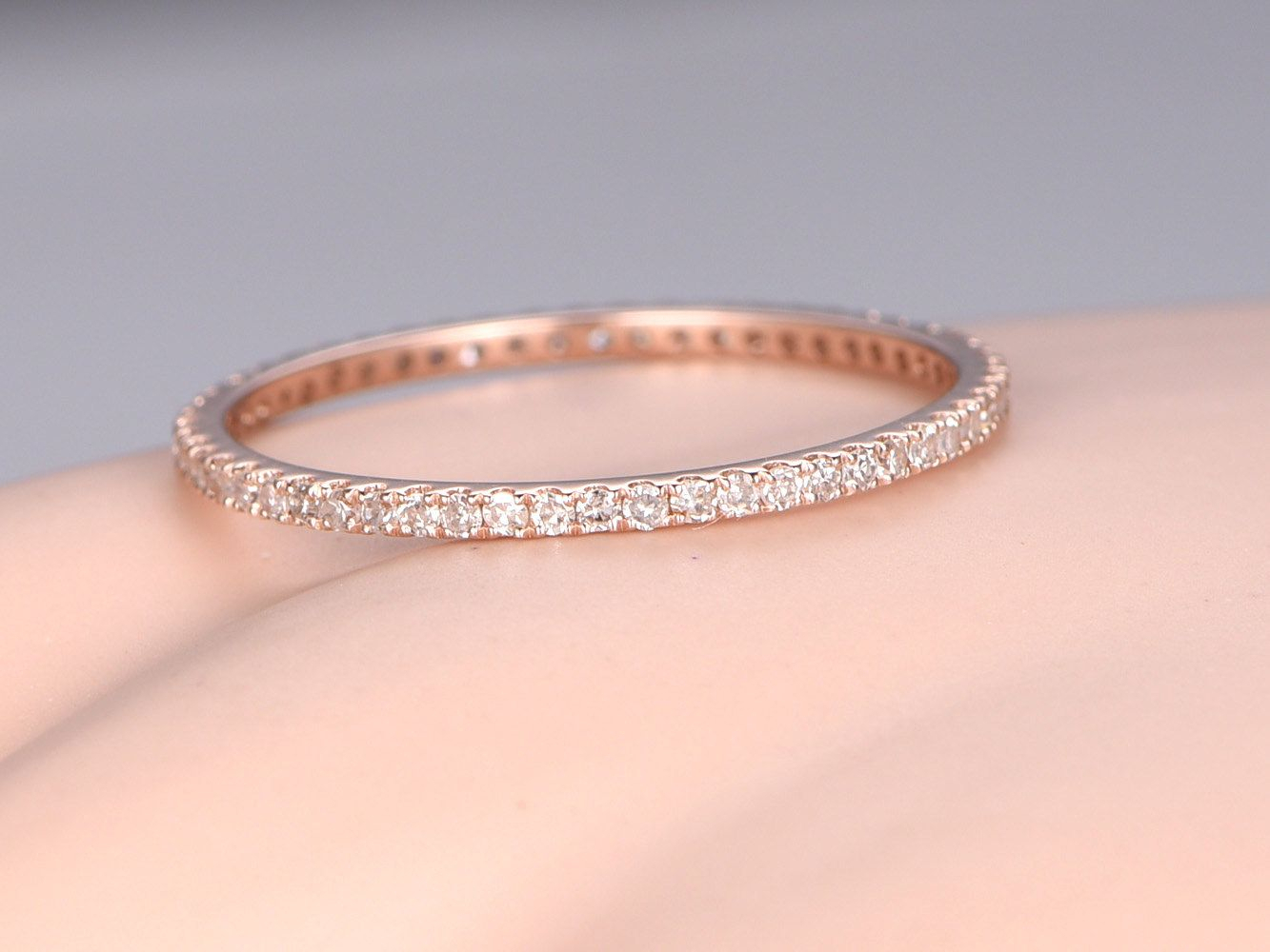 Diamond Wedding Band Petite French Micro Pave Band Solid 14k With Regard To Latest Full Micropavé Diamond Wedding Bands (View 2 of 25)