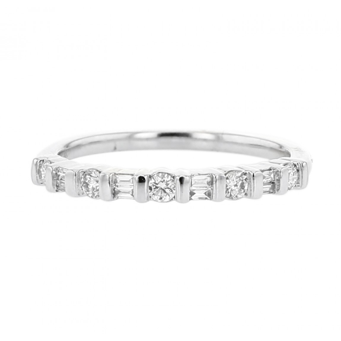 Diamond Wedding Band Ring, Half Eternity, Alternating Round And Baguette,  Bar Set, 14K Gold, .25Ct With Regard To Most Up To Date Baguette Cut Single Diamond Wedding Bands (Gallery 14 of 25)