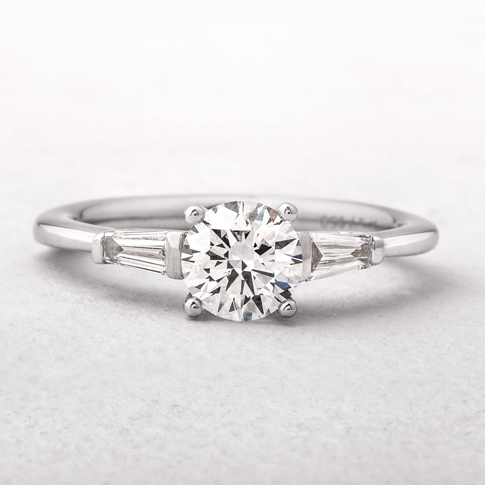 Diamonds 0.92Ct G / Vs2 Gia Certified Round Solitaire With Baguette  Shoulders, Platinum Ring Inside Cushion Cut Engagement Rings With Tapered Baguette Side Stones (Gallery 25 of 25)