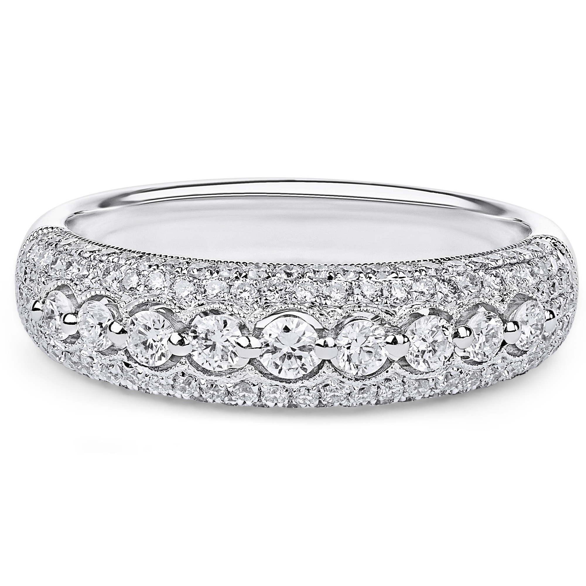 Domed Micropavé Diamond Wedding Ring In 18k White Gold ( (View 6 of 25)