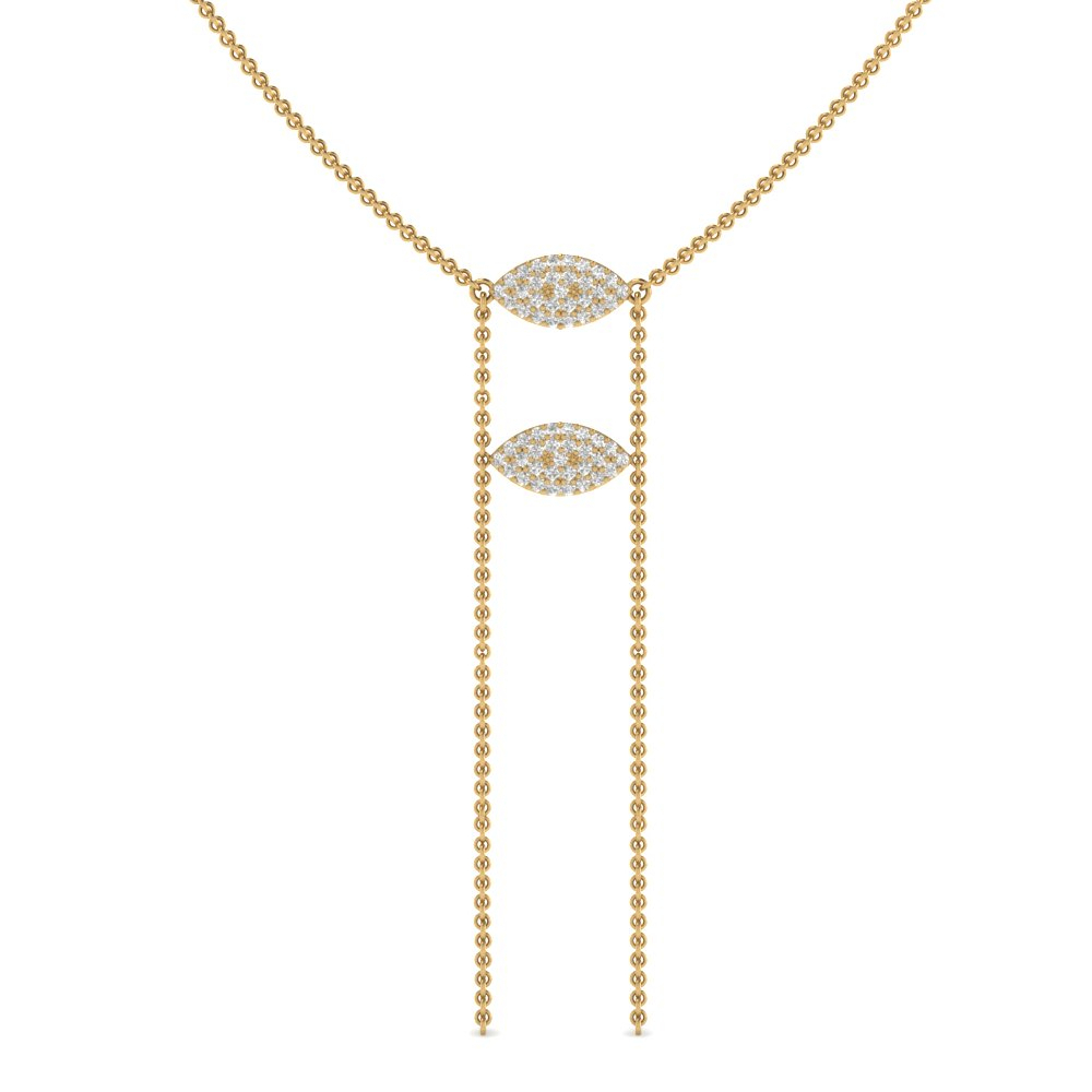 Double Marquise Lariat Necklace In 18k Yellow Gold For Best And Newest Lariat Diamond Necklaces (View 9 of 25)