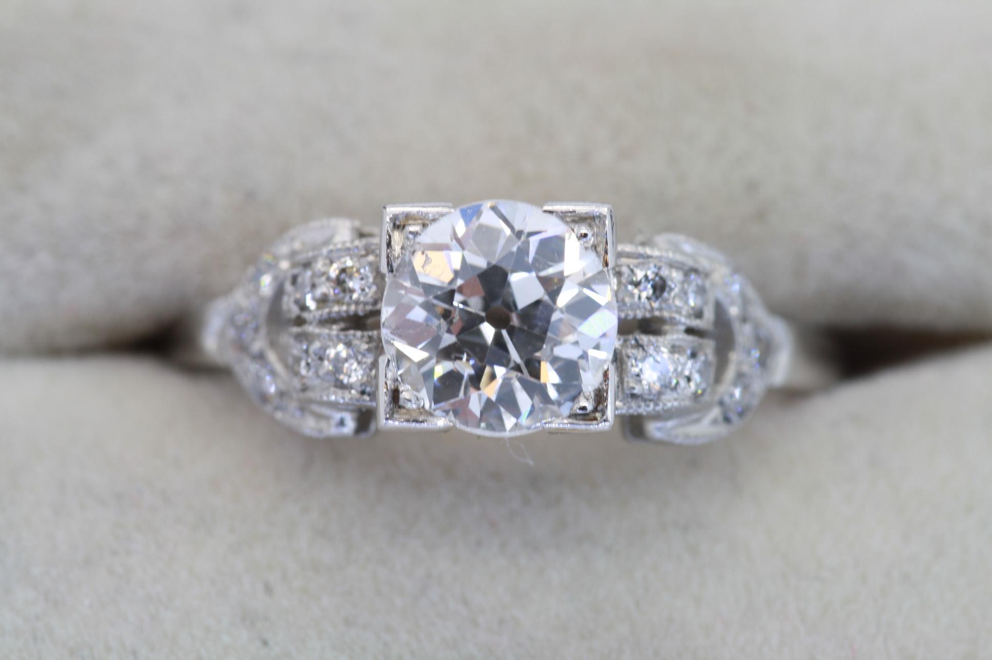 Edwardian Diamond Engagement Ring For Round Brilliant Diamond Engagement Rings (View 11 of 25)