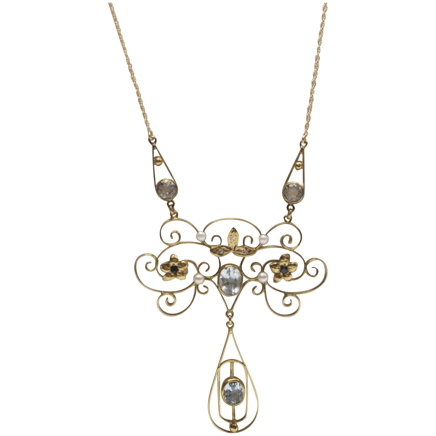 Edwardian Diamond, Pearl, Aquamarine And Sapphire 14 Kt Gold Necklace Within Most Current Sapphire, Aquamarine And Diamond Necklaces (View 11 of 25)