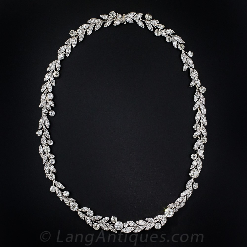 Edwardian Platinum And Diamond Laurel Leaf Necklace Throughout 2019 Diamond Wreath Necklaces (View 13 of 25)