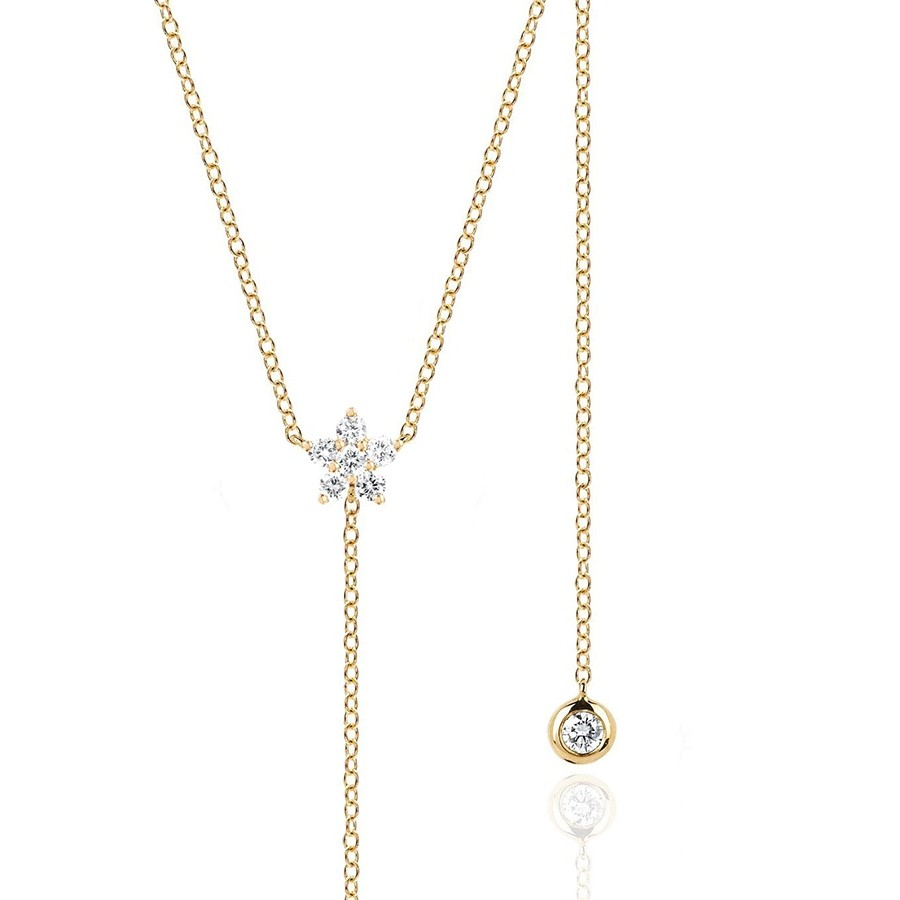 Ef Collection Diamond Flower Lariat Necklace For Most Up To Date Lariat Diamond Necklaces (Gallery 21 of 25)