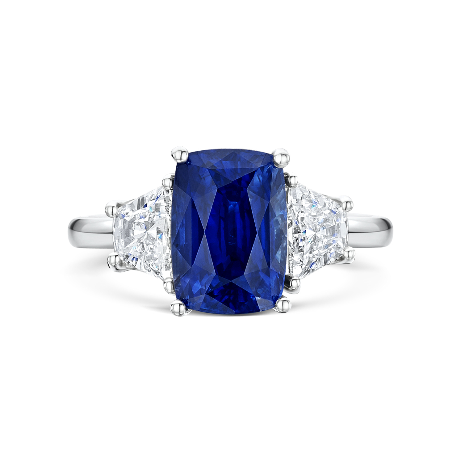 Elongated Cushion Cut Sapphire Three Stone Inside Cushion Cut Sapphire Rings (View 17 of 25)