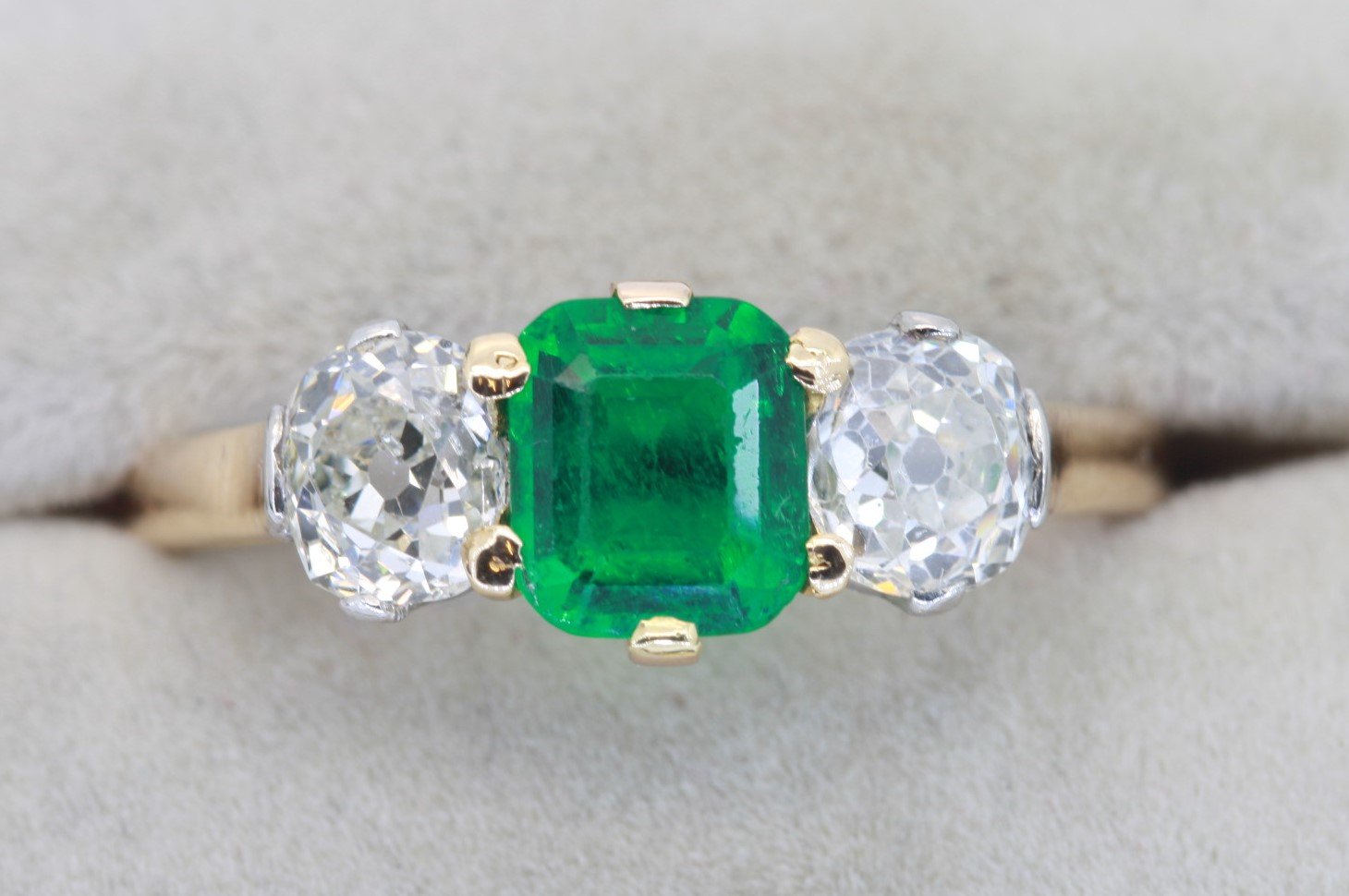 Emerald And Diamond Three Stone Ring Pertaining To Emerald And Diamond Three Stone Rings (View 9 of 25)