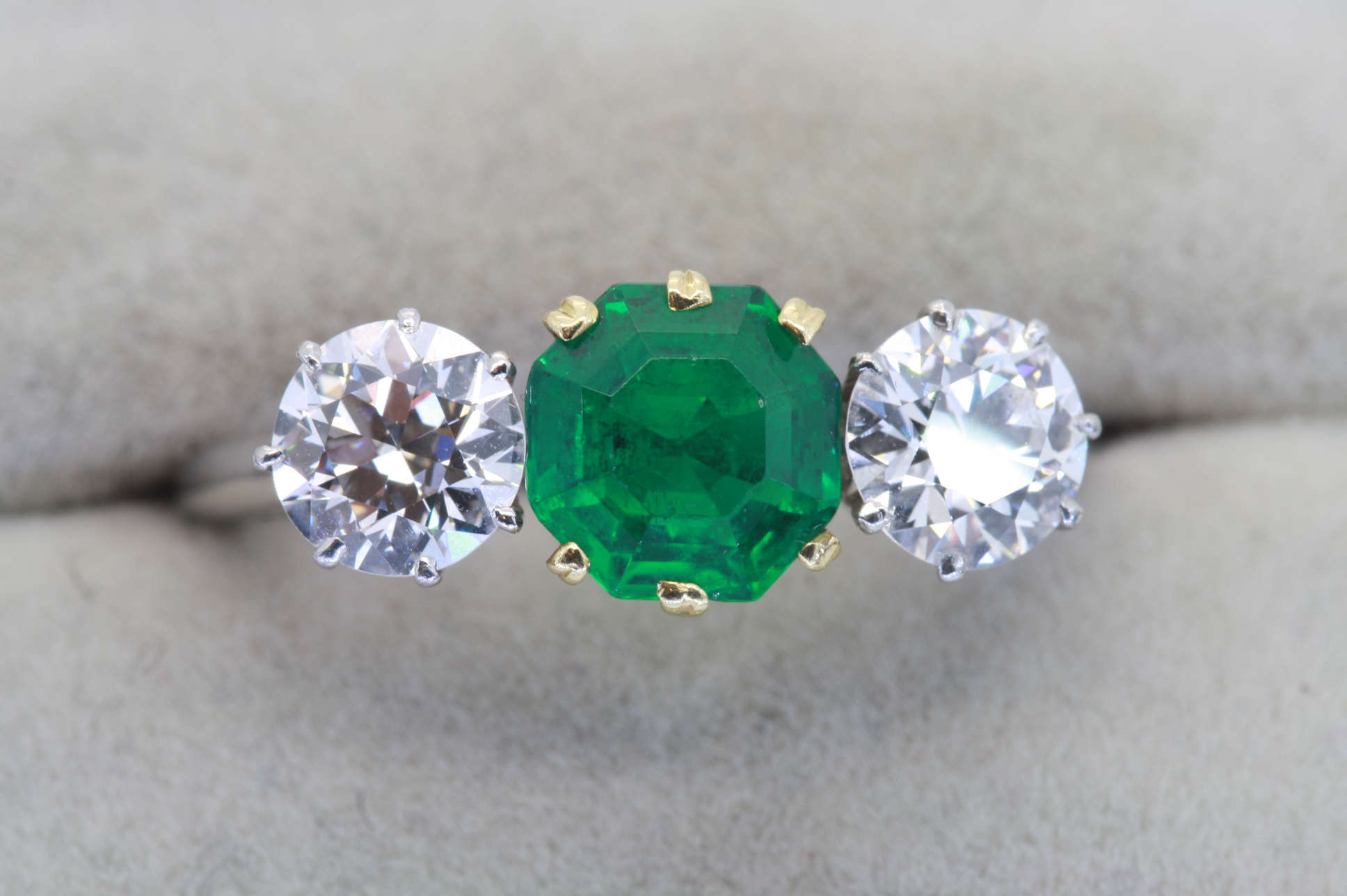 Emerald And Diamond Three Stone Ring With Emerald And Diamond Three Stone Rings (Gallery 23 of 25)