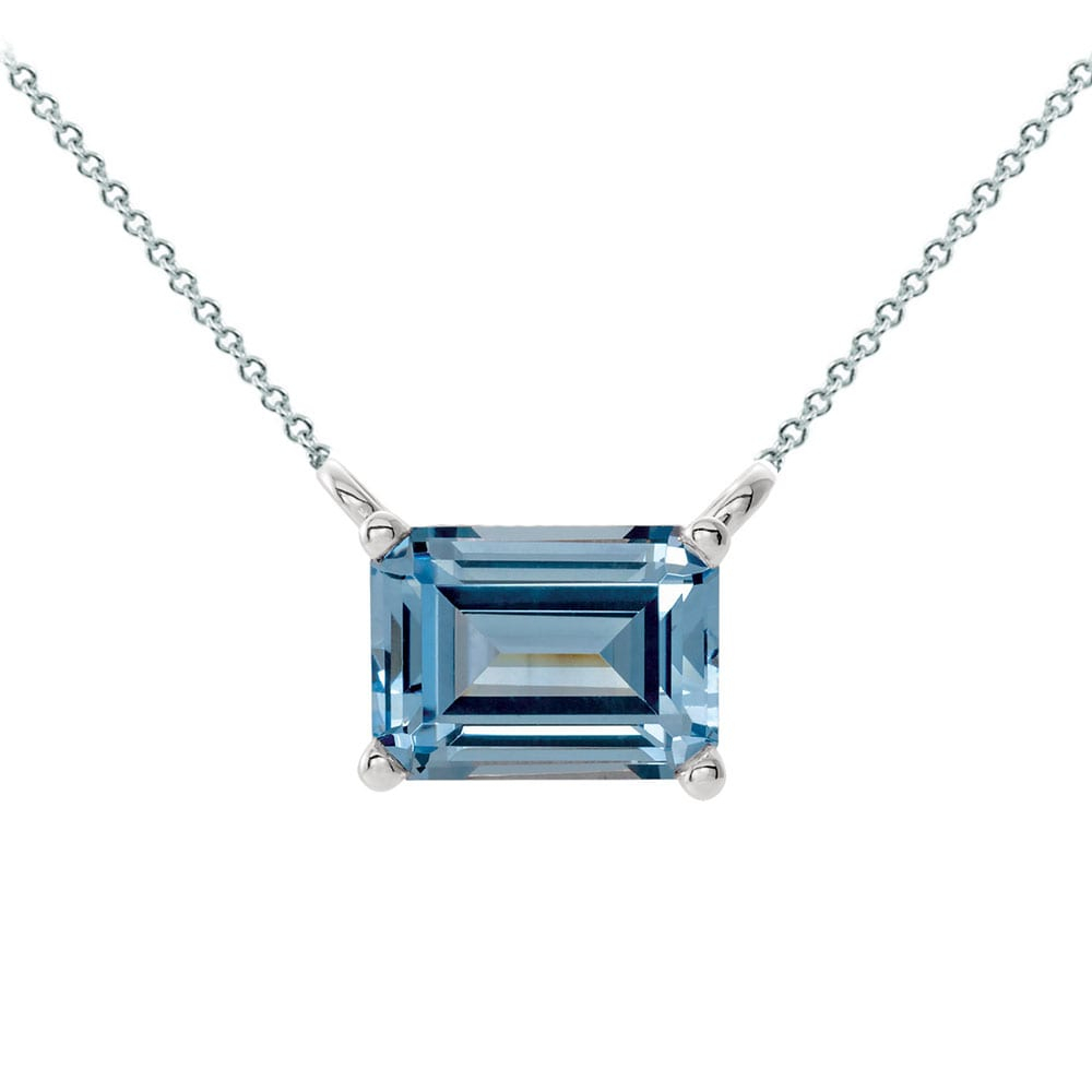 Emerald Cut Aquamarine Floating Necklace In 14K White Gold With Regard To Most Popular Sapphire, Aquamarine And Diamond Necklaces (View 12 of 25)