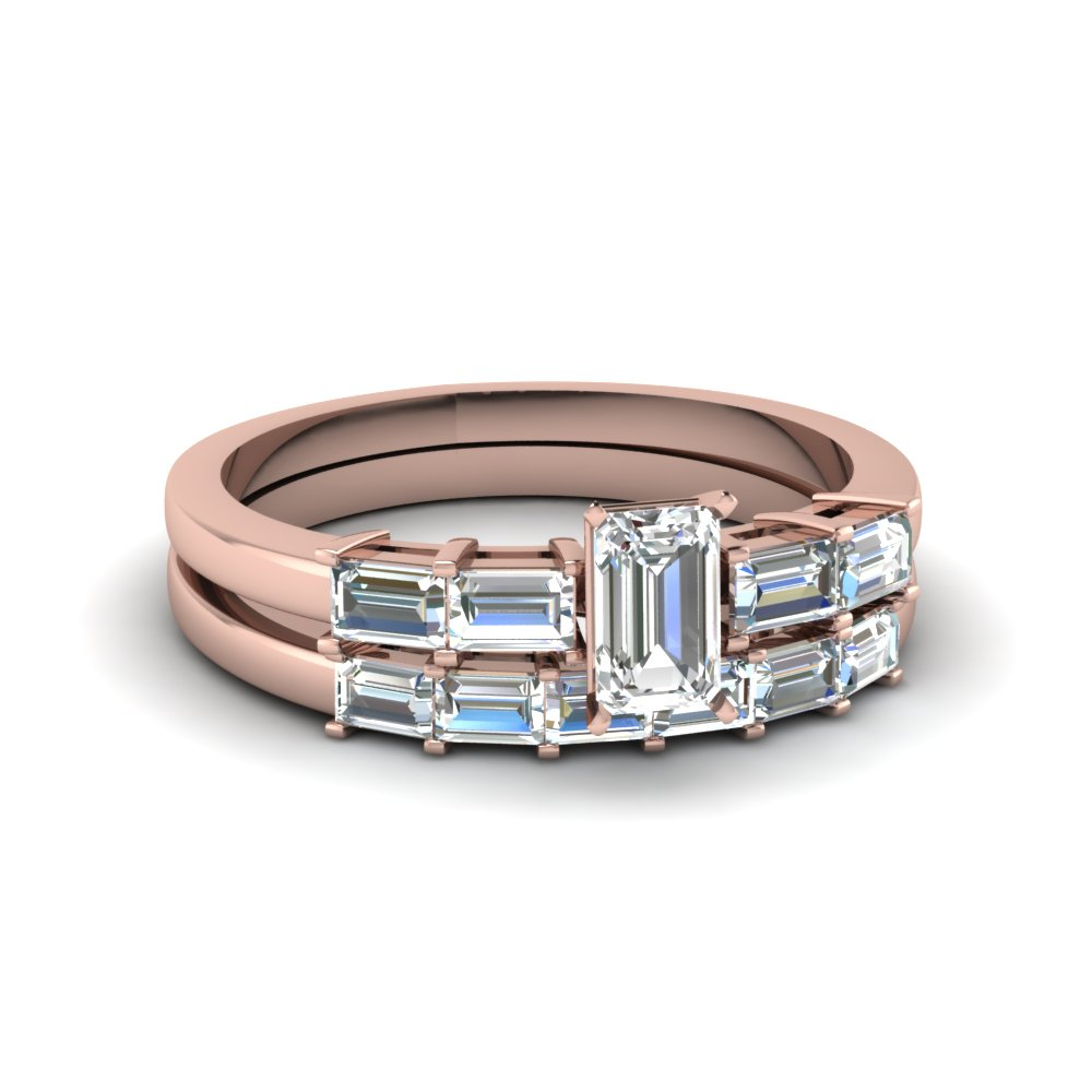 Emerald Cut Baguette Accent Diamond Wedding Ring Set In 14K Rose Gold For Most Up To Date Prong Set Emerald Cut Diamond Wedding Bands (View 9 of 25)