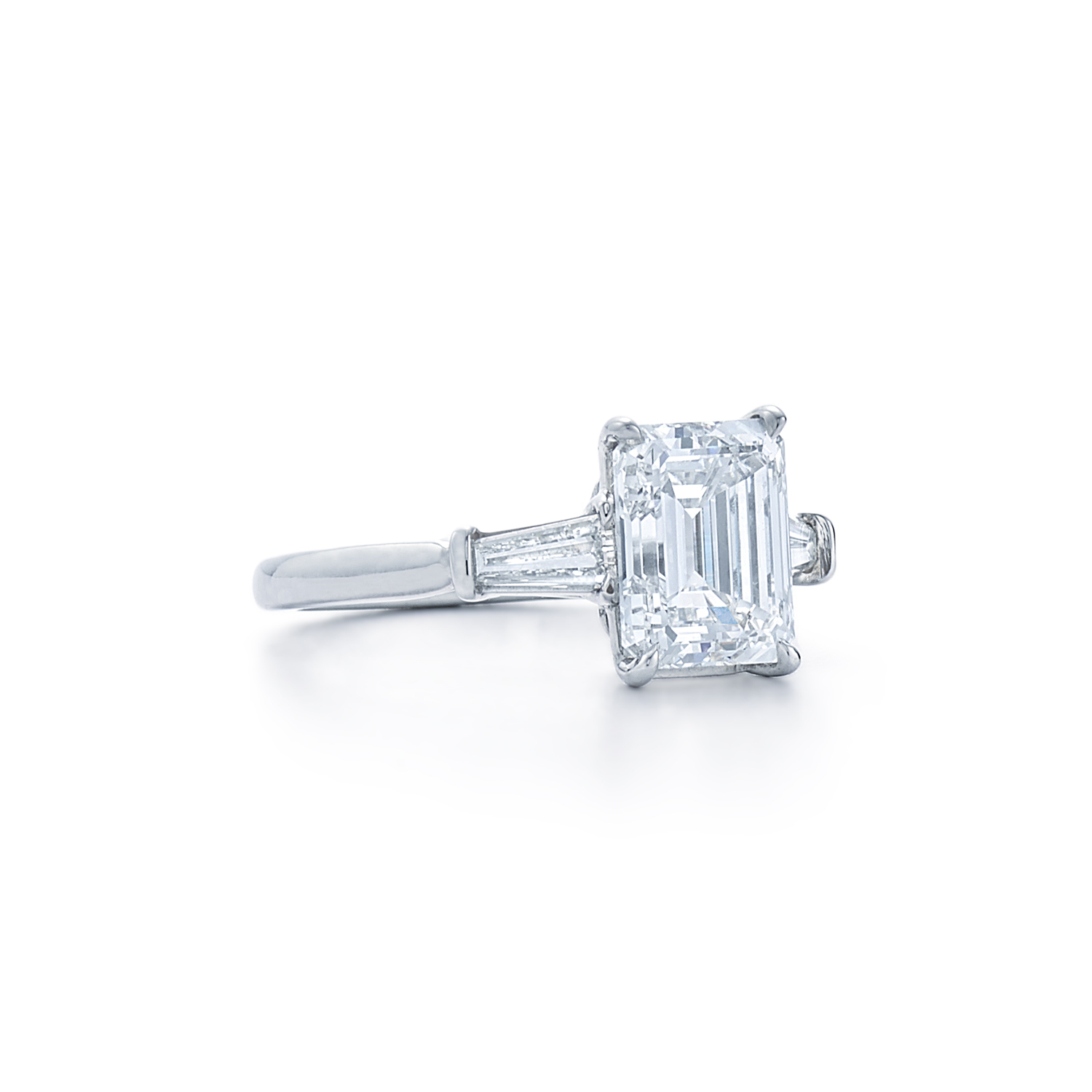 Emerald Cut Diamond Engagement Ring | Dk Gems With Cushion Cut Engagement Rings With Tapered Baguette Side Stones (View 17 of 25)