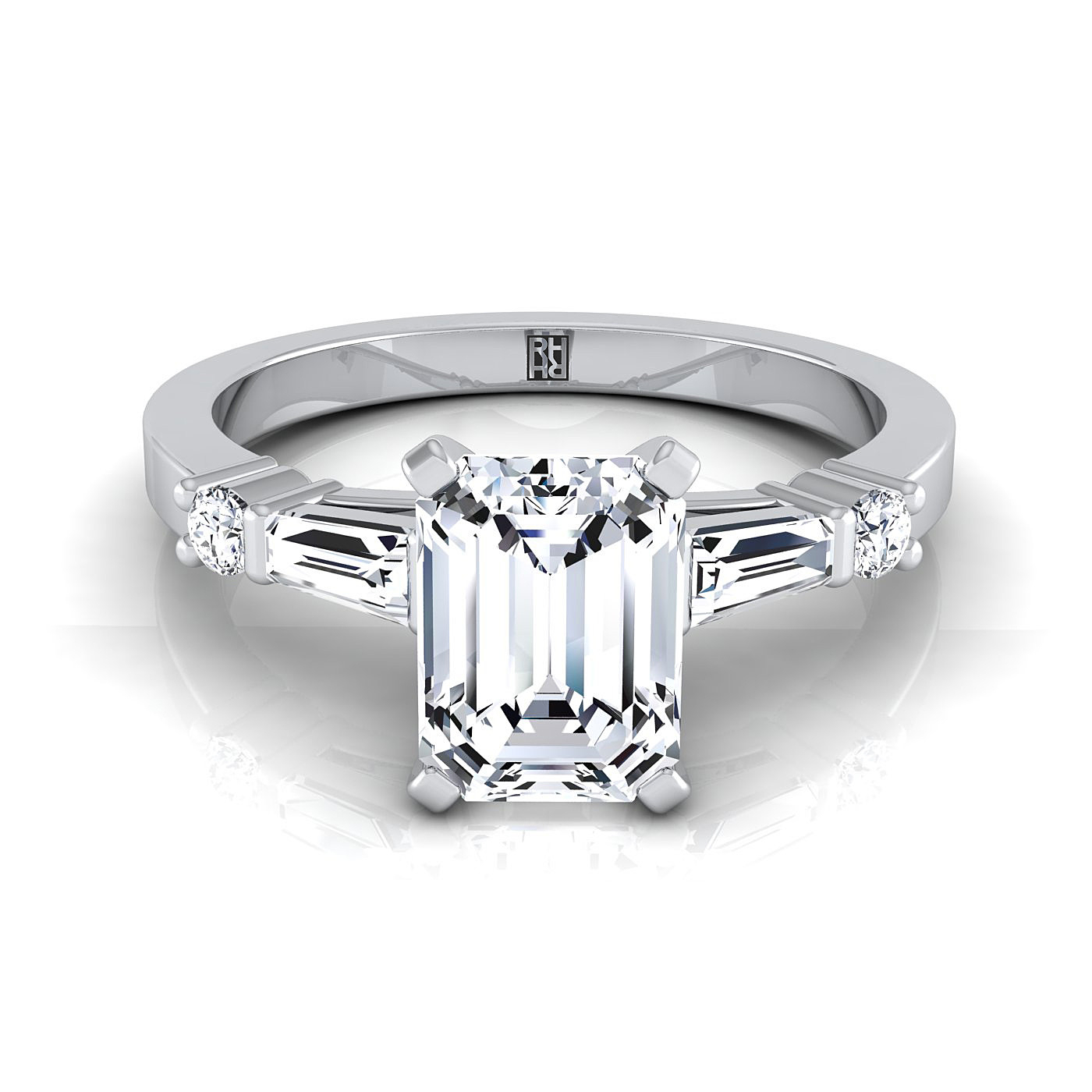 Emerald Cut Diamond Engagement Ring With Tapered Baguette Sides And Round  Prong Set Shoulders In 18Kwhite Gold (1/4 Ct.tw.) For Emerald Cut Engagement Rings With Tapered Baguette Side Stones (Gallery 17 of 25)