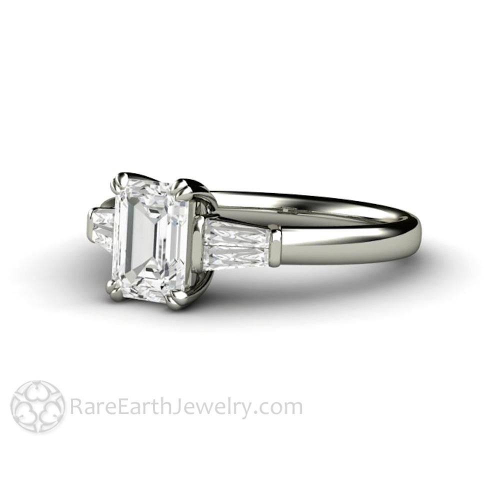 Emerald Cut Diamond Engagement Ring With Tapered Baguette Throughout Emerald Cut Engagement Rings With Tapered Baguette Side Stones (View 8 of 25)