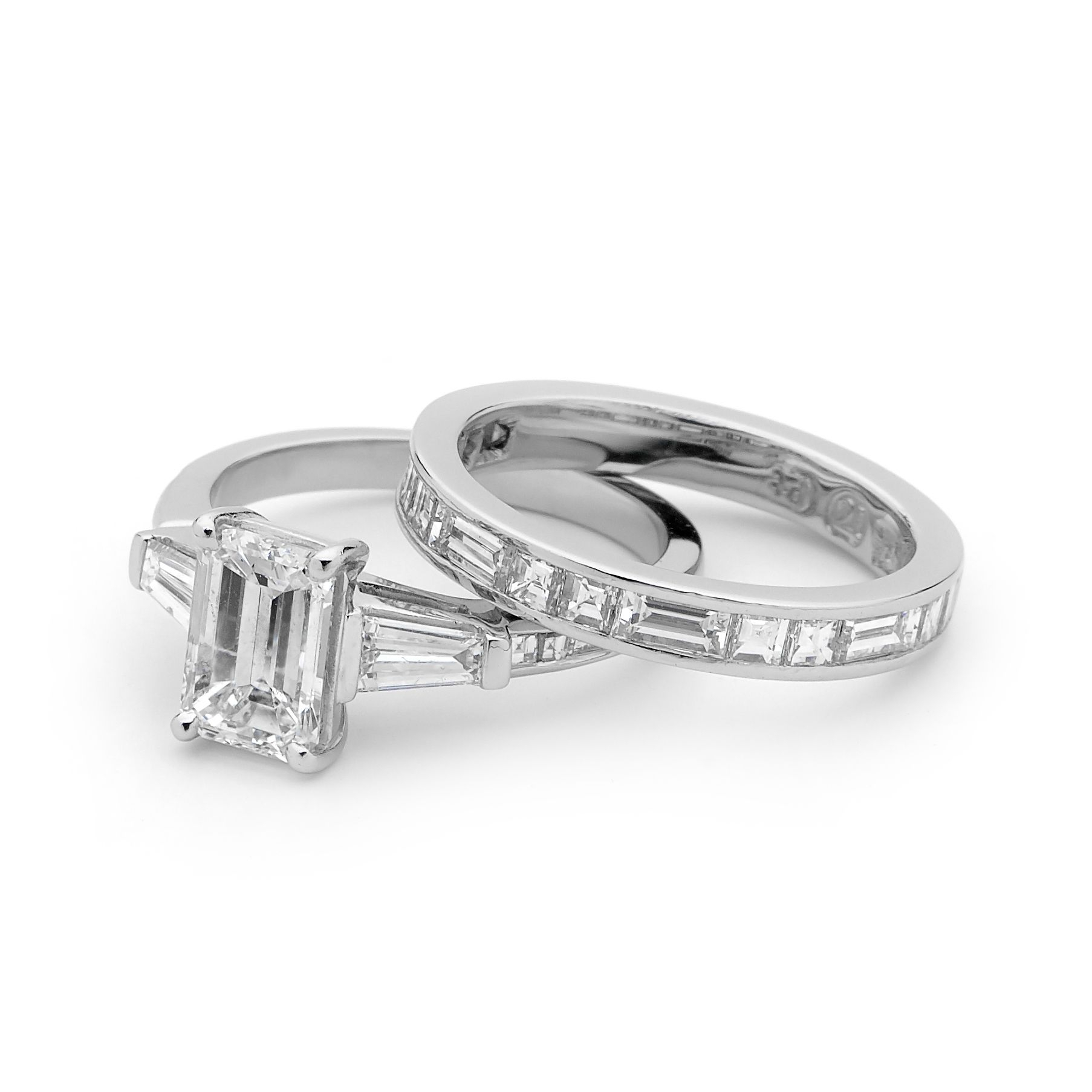 Emerald Cut Diamond Engagement Ring With Wedding Band To With Regard To Latest Bar Set Round Brilliant And Emerald Cut Diamond Wedding Bands (View 14 of 25)