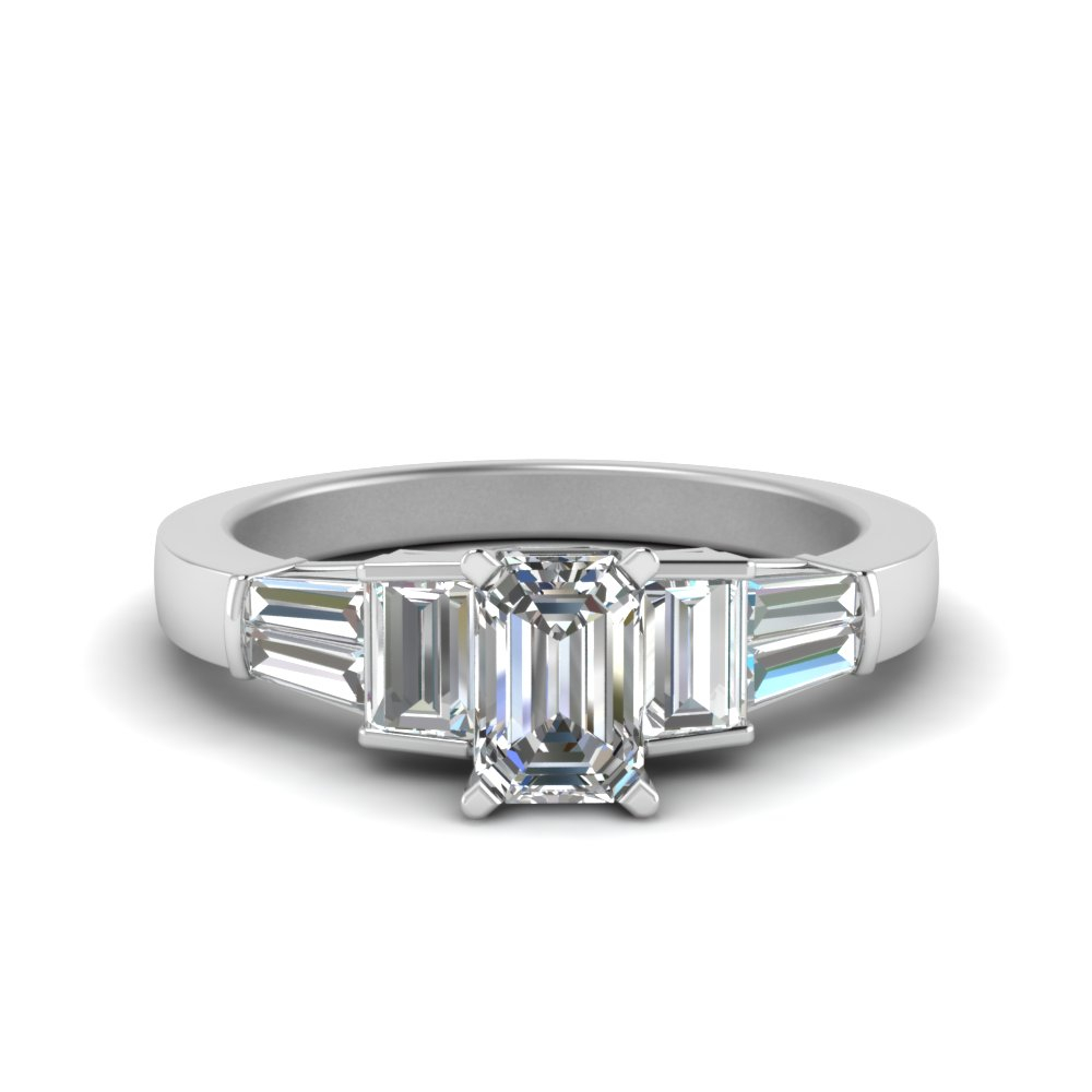 Emerald Cut Diamond Ring With Baguettes Throughout Emerald Cut Engagement Rings With Tapered Baguette Side Stones (Gallery 8 of 25)