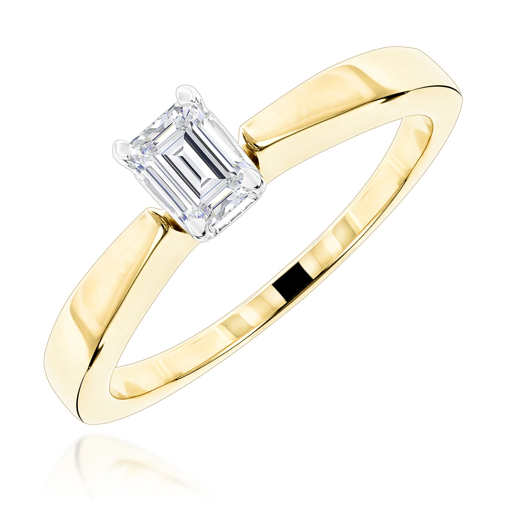 Emerald Cut Diamond Solitaire Engagement Ring (View 16 of 25)