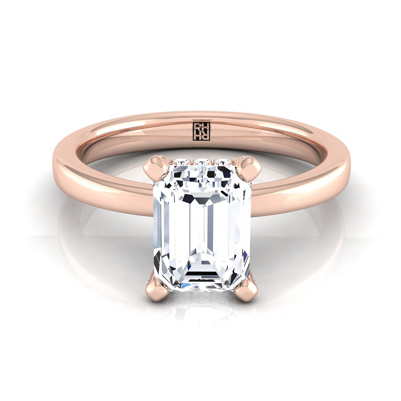 Emerald Cut Diamond Solitaire With Pave Basket Setting In 14k Rose Gold Throughout Solitaire Emerald Cut Engagement Rings (View 18 of 25)