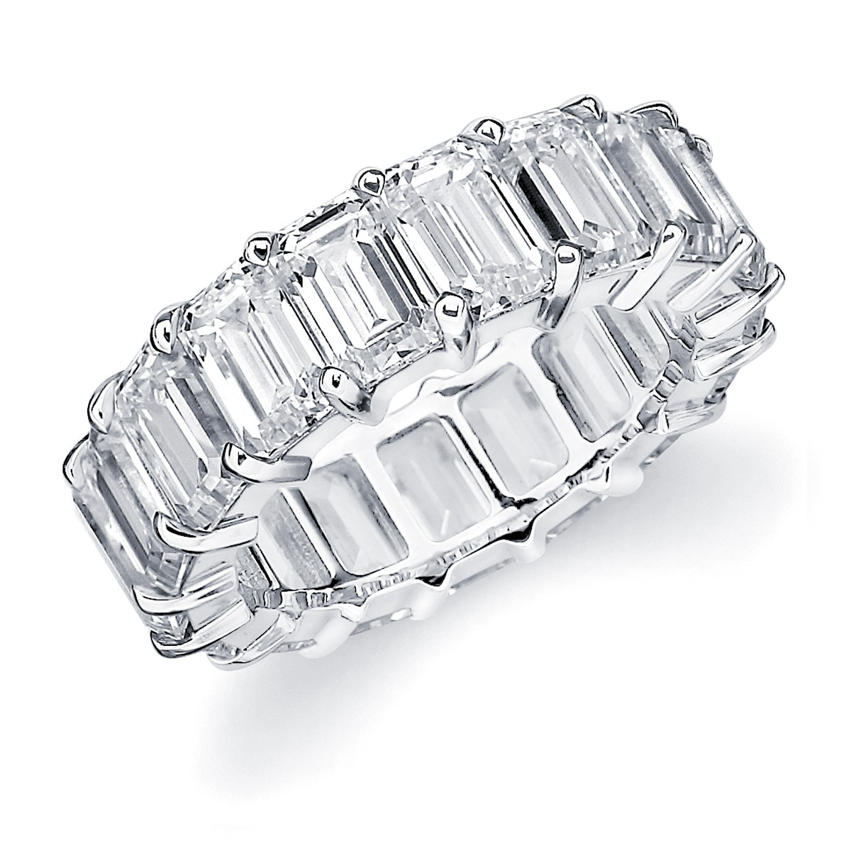Emerald Cut Diamond Wedding Bands | Emerald Cut Eternity Band Within Most Recent Bar Set Round Brilliant And Emerald Cut Diamond Wedding Bands (View 15 of 25)