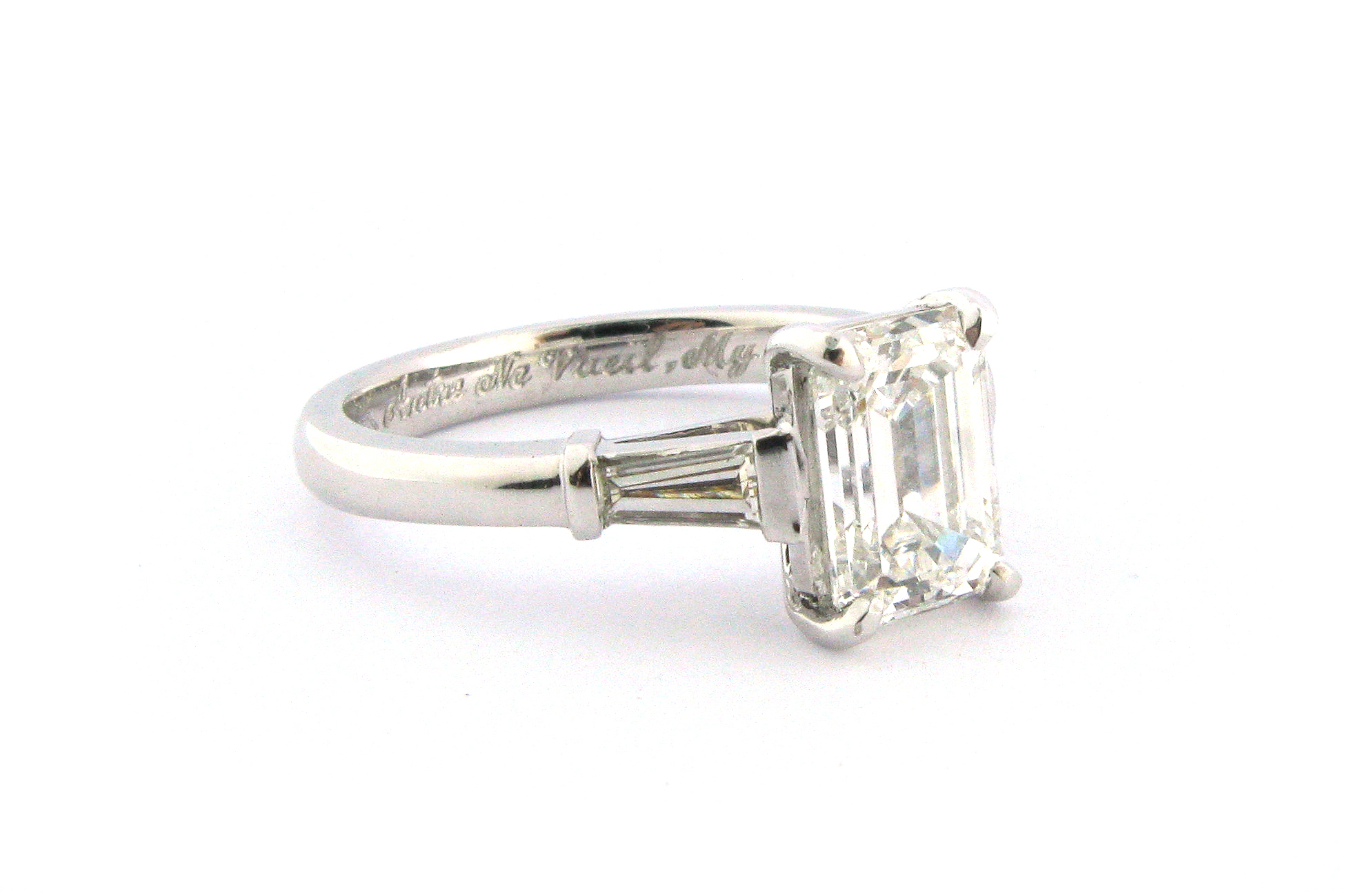 Emerald Cut Diamond With Tapered Baguette Side Stones Inside Cushion Cut Engagement Rings With Tapered Baguette Side Stones (View 19 of 25)
