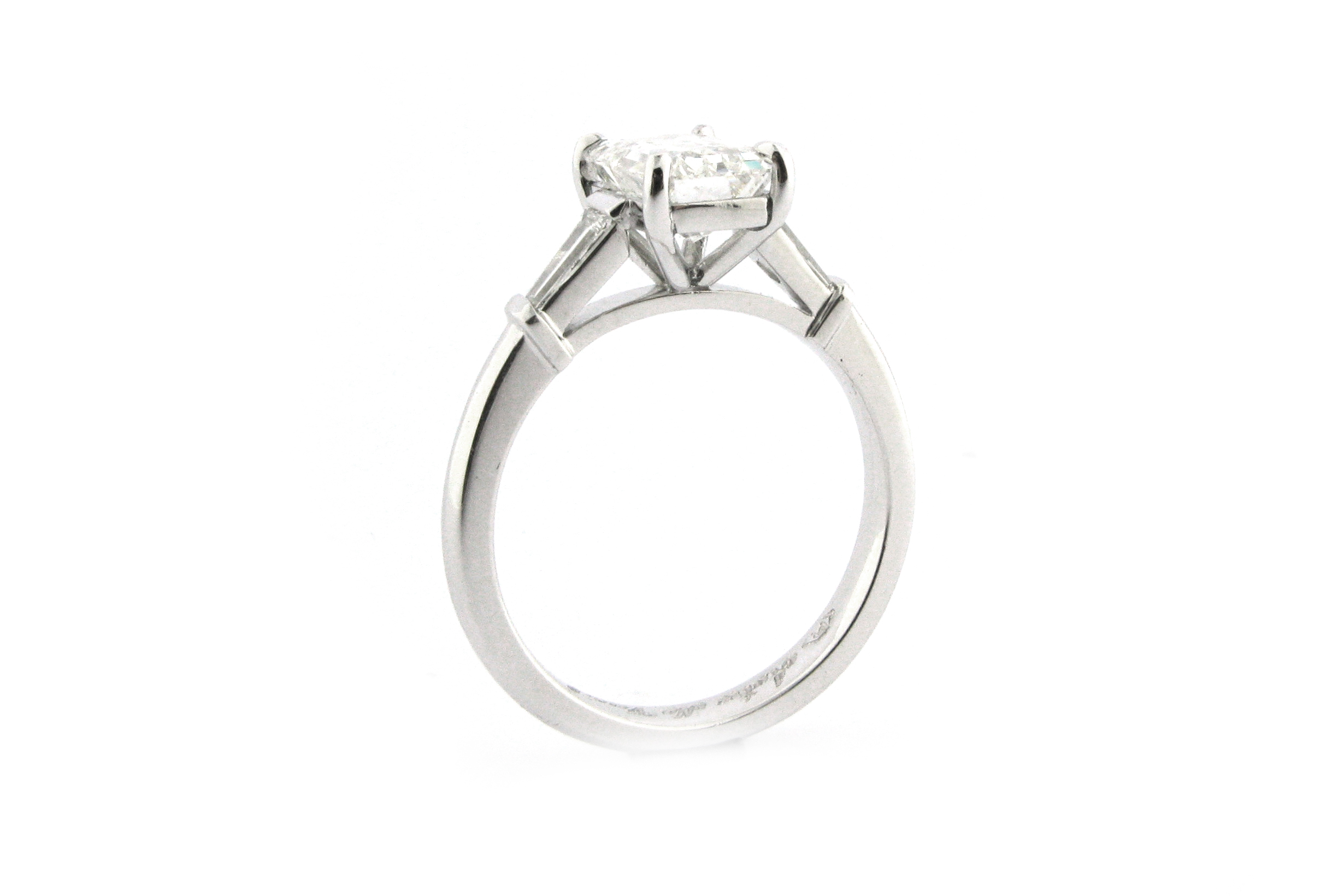 Emerald Cut Diamond With Tapered Baguette Side Stones With Regard To Heart Shaped Engagement Rings With Tapered Baguette Side Stones (View 15 of 25)