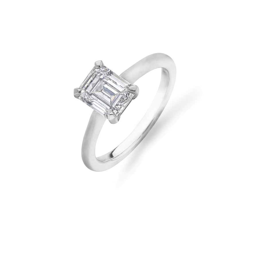 Emerald Cut Solitaire Diamond Ring In Platinum Throughout Solitaire Emerald Cut Engagement Rings (Gallery 23 of 25)